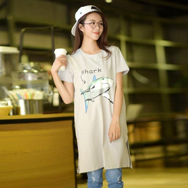 洋裝 童趣鯋魚印花長版T恤洋裝 【87-11-8265】ibella 艾貝拉
