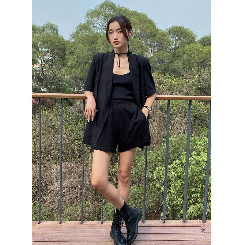 夏季新款短褲女韓版高腰闊腿褲鬆緊腰寬鬆顯瘦休閒褲