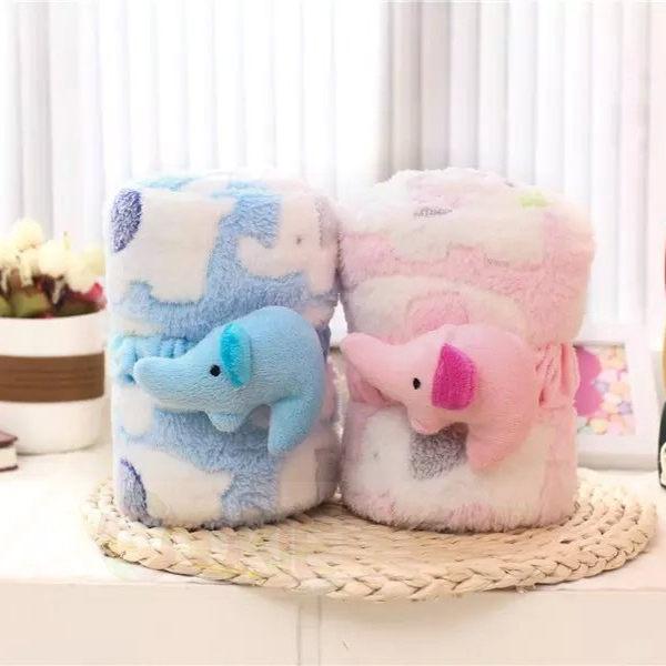 可愛卡通小象珊瑚絨薄款空調毯子  可捲曲收納毯  懶人毯  午睡毯^(二色^)~庫奇小舖~