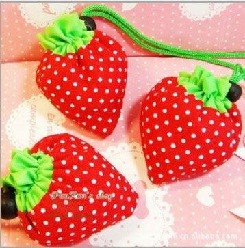 【省錢博士】草莓購物袋 / 草莓袋折疊袋子 / 手提袋環保收納袋