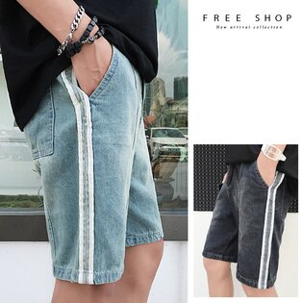 FreeShop側邊條紋水洗刷色牛仔短褲淺藍色黑色復古韓版百搭直條貼布【QCCEI1121】