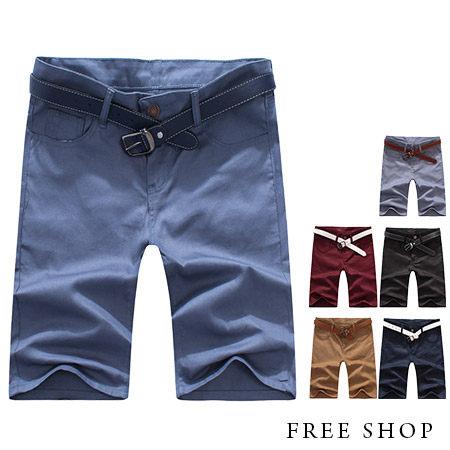 《全店399免運》Free Shop【QSPN3720】日韓風格素面多色系後側口袋拼接皮標休閒短褲工作短褲‧六色
