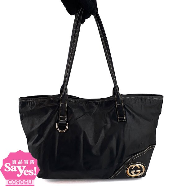 【奢華時尚】秒殺推薦!GUCCI New Britt 金屬雙G黑色全皮梯形購物包(八成新)#21952