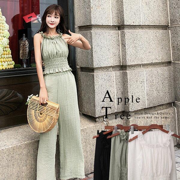 AT日韓-韓國,削肩短版上衣X彈力寬褲3色,兩件成套3色【806017】
