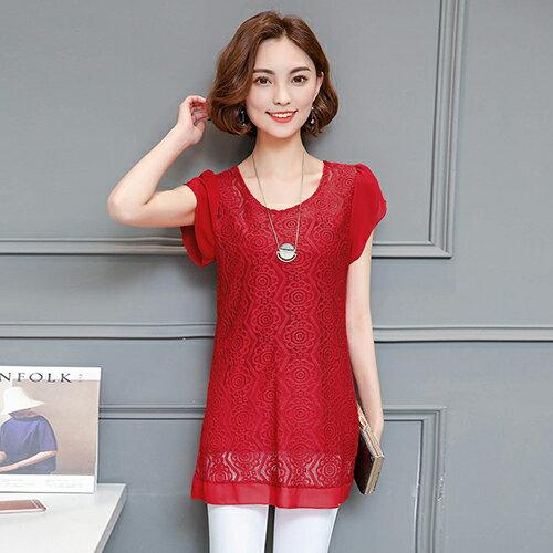 蕾絲雪紡上衣(6色M~4XL)【OREAD】 4