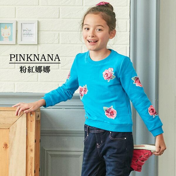 Pink Nana:PINKNANA童裝女大童玫瑰花厚刷保暖上衣35257