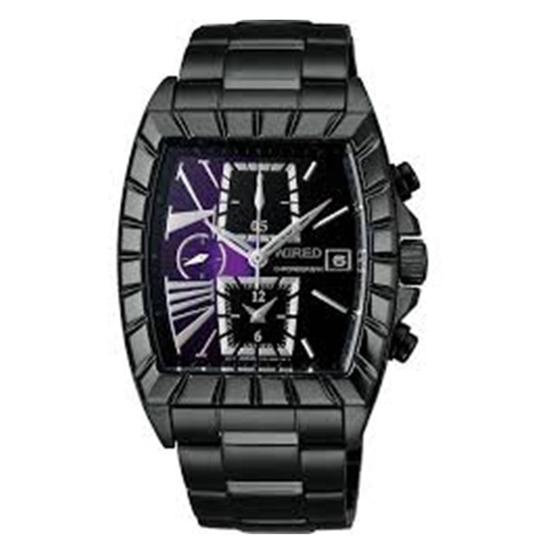 ALBA WIRED 星際戰艦三眼計時手錶 紫 黑 7T92-X236P 38mm