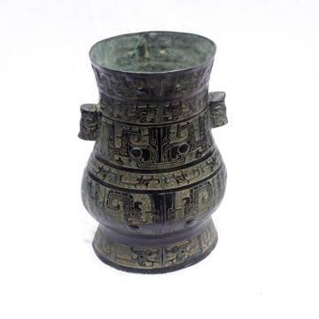 開光古青銅器青銅瓶酒樽禮品古擺件家居擺設