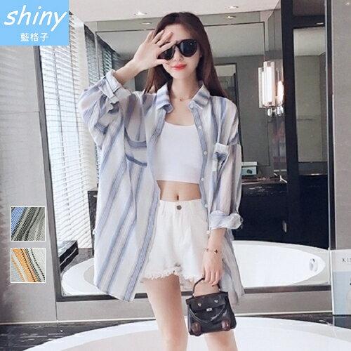 shiny藍格子:全店滿600折50【V1898】shiny藍格子-復古隨性.條紋配色外搭襯衫罩衫外套