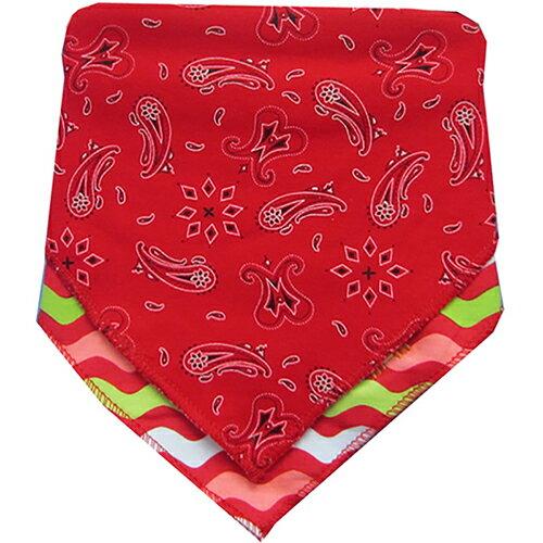 【HELLA 媽咪寶貝】美國 luvable friends  嬰幼兒三角領巾圍兜2入組_紅色圖騰(92053)