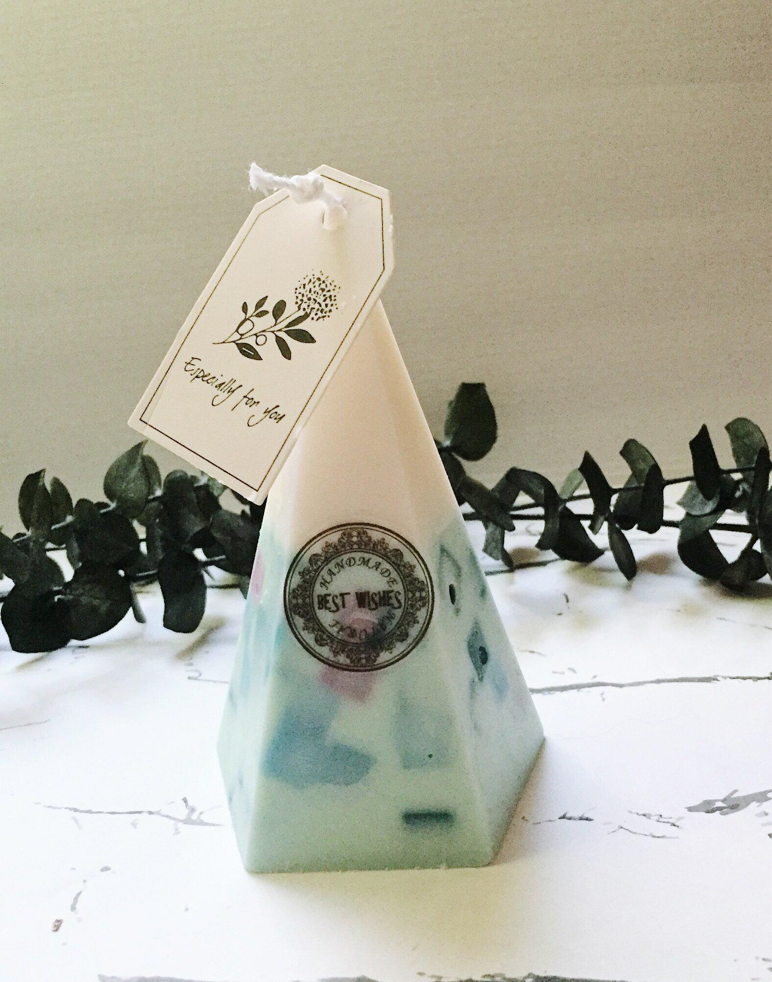 藍彩方塊香氛蠟燭 **天然大豆精油蠟燭** 香氛手工製作 情人節禮物 生日禮物 結婚送禮