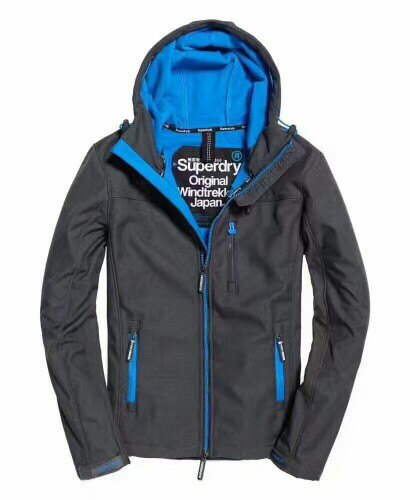 極度乾燥 Superry Windtrekker 連帽防風夾克 防潑水機能外套 薄款 深灰/藍色
