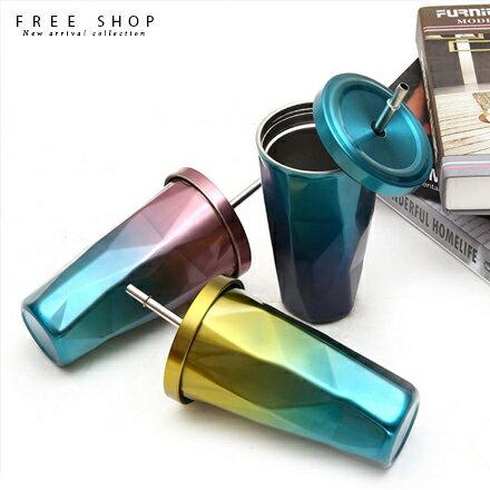 Free Shop:FreeShop頂級304不鏽鋼食品級PP菱形漸層彩色造型冰爆吸管杯保溫杯保冰杯473ml【QAAUK7097】