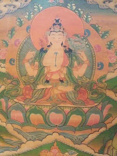 尼泊爾手繪唐卡 四臂觀音唐卡 畫框掛式 (慈悲滿願尊)