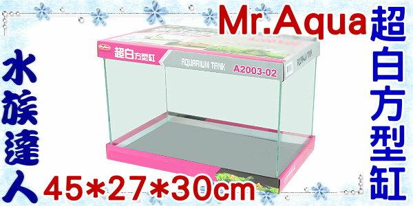 <br/><br/>  【水族達人】水族先生Mr.Aqua《A2003-02 超白方型缸.45*27*30cm》平面優白魚缸<br/><br/>
