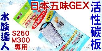 【水族達人】日本五味GEX《外掛過濾器.S250/M300專用活性碳板》插卡濾棉 過濾棉替換用