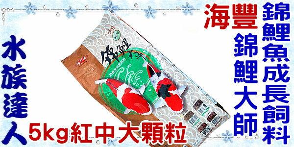 【水族達人】海豐《錦鯉大師 錦鯉魚成長飼料(低脂)5kg(紅中大顆粒)》錦鯉/金魚