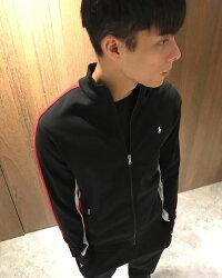 美國百分百【全新真品】Ralph Lauren 棉質 立領 外套 夾克 RL polo 小馬 黑紅 XS S號 H538