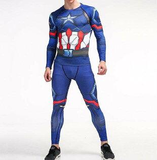 FINDSENSEMD日系時尚男藍色星星標誌器械高彈力速幹緊身運動服籃球服健身服套裝T恤+褲子
