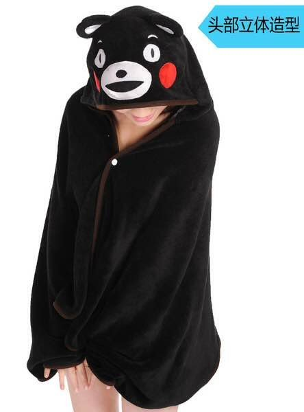 =優生活=日本吉祥物Kumamoto熊本披肩披風斗篷懶人毯 空調毯子 辦公室午睡空調毯子