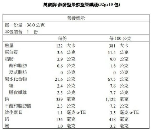 【萬歲牌】燕麥堅果飲堅果纖蔬(32gx10包)