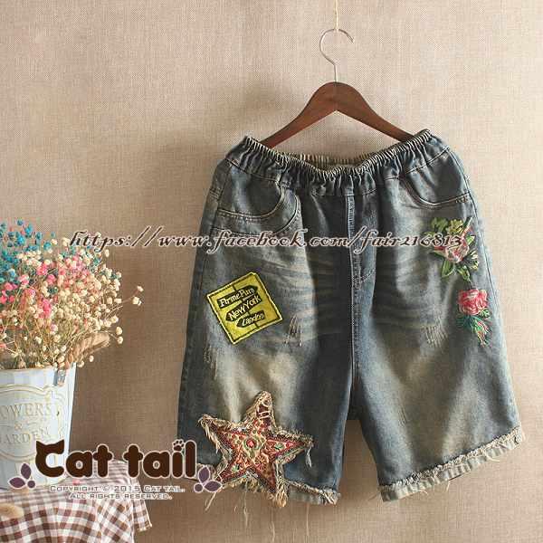 《貓尾巴》JP-01773韓版做舊貼布刺繡牛仔五分褲(森林系日系棉麻文青清新)