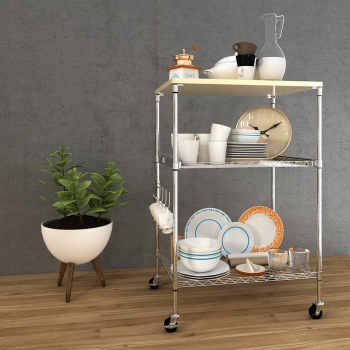 Kitchen Wire Pull-Out Shelving 3-Shelf Microwave Cart Adjustable Height with Hooks Wheel 2