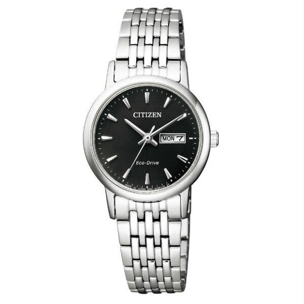 CITIZEN星辰錶EW3250-53E簡約時尚日期星期光動能腕錶黑面27mm