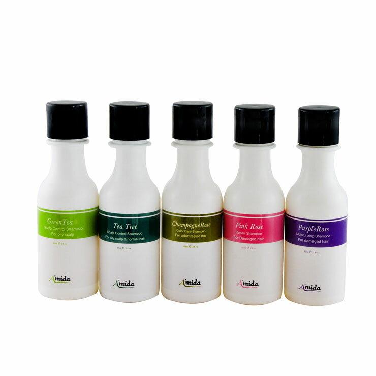AMIDA 紫玫瑰/粉玫瑰/香檳玫瑰/茶樹/綠茶 洗髮精60ml