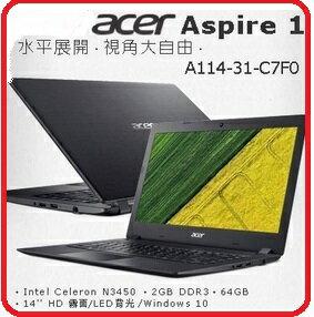 Acer宏碁 Aspire A114~31~C7F0 14吋HD 入門筆電N3450四核