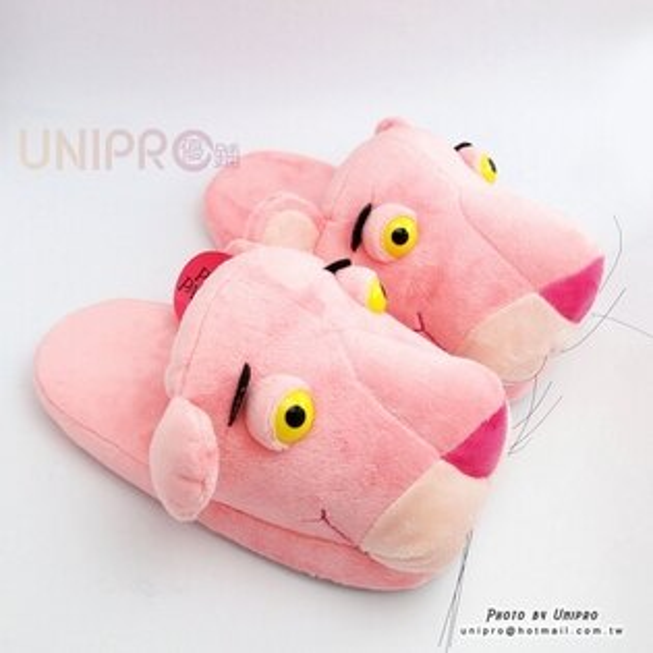 【UNIPRO】頑皮豹粉紅豹PinkPanther立體保暖室內拖鞋毛拖保暖拖鞋布拖正版授權禮物