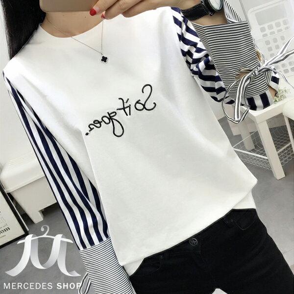 梅西蒂絲Mercedes Shop:《全店75折》韓系條紋綁結袖拼接字母長袖T恤(S-3XL,2色)-梅西蒂絲(現貨+預購)