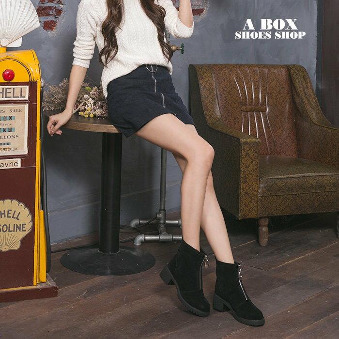 ★全店免運★格子舖*【KSA99】嚴選時尚質感麂皮 金屬拉鍊設計 5.5CM中粗跟短靴 短筒靴 馬丁靴 2色 1