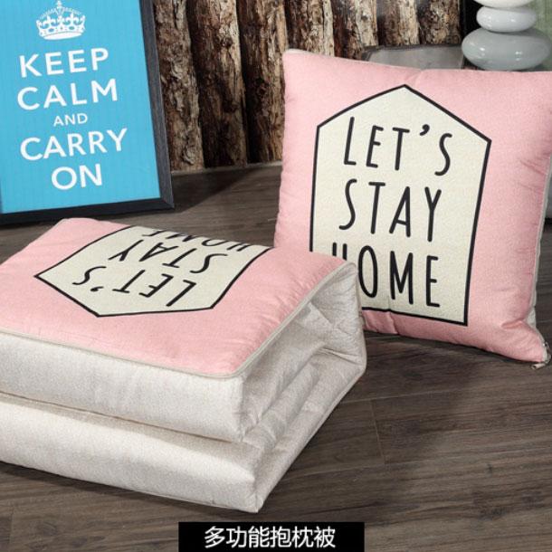 北歐字母印花兩用抱枕 兩用毯 毯子 被子 空調毯 枕頭