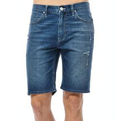 Lee 牛仔短褲-男款-中藍色水洗