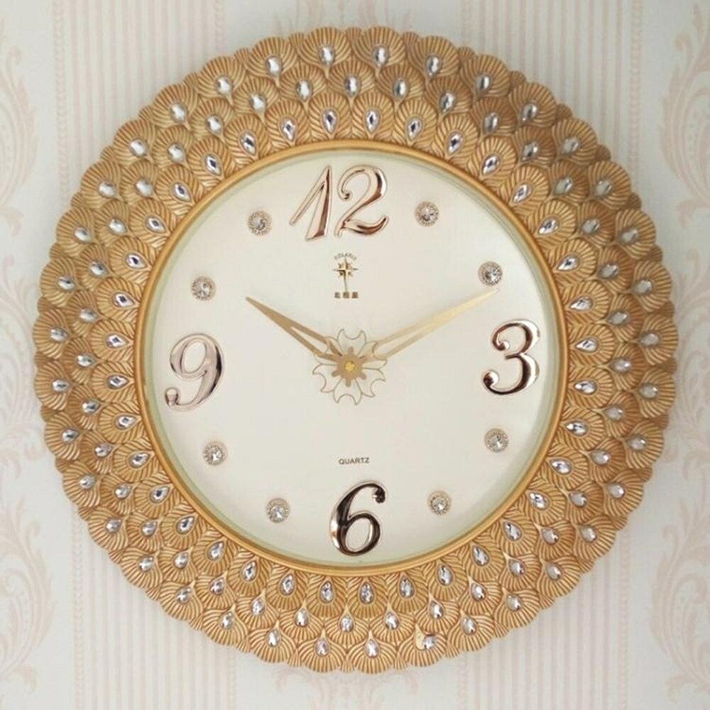 掛鐘客廳靜音掛鐘歐式創意掛錶臥室鐘錶圓形石英鐘簡約家用時鐘    都市時尚DF