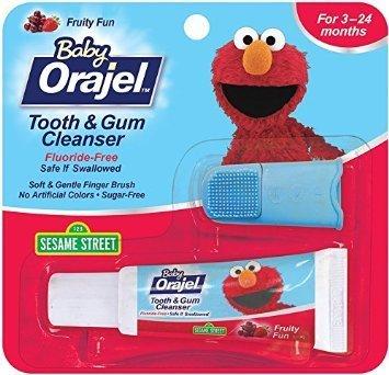 ~彤彤小舖~Orajel Baby 寶寶牙齒牙齦清潔組 牙膏 手指刷 無氟 無糖 無人工色