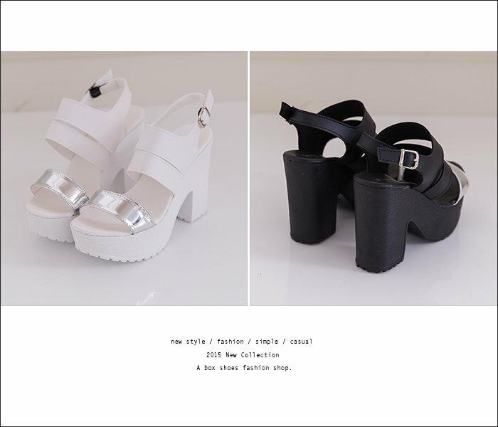 格子舖*【KW2781】MIT台灣製 嚴選韓版皮革 太空金屬感一字粗跟露趾 羅馬粗高跟涼鞋 2色 2