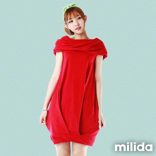 【Milida,全店七折免運】-夏季尾聲-素色款-一字領花苞洋裝 0