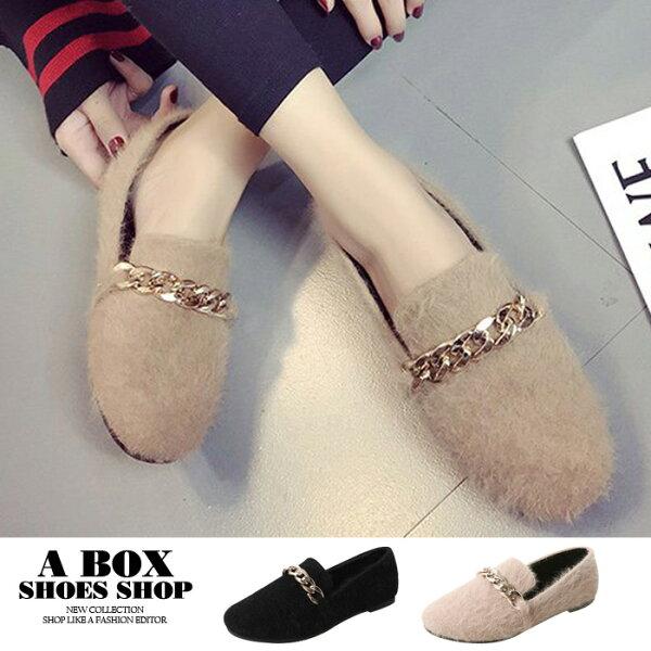 格子舖:【KD1001】冬季時尚金屬鍊絨毛絨面材質平底圓頭包鞋毛毛鞋娃娃鞋2色