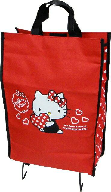 Hello Kitty摺疊購物車/收納購物車(抱愛心)