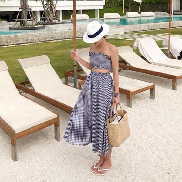 兩穿式 藍色格子 露肚露腰洋裝 平口上衣 A字裙 長裙 格紋度假海邊比基尼 性感露肩短版背心 兩件式套裝 ANNA S.