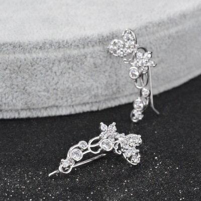 ~925純銀耳環鑲鑽耳飾~ 華麗奢華閃耀七夕情人節 女飾品2色73hz89~ ~~米蘭 ~