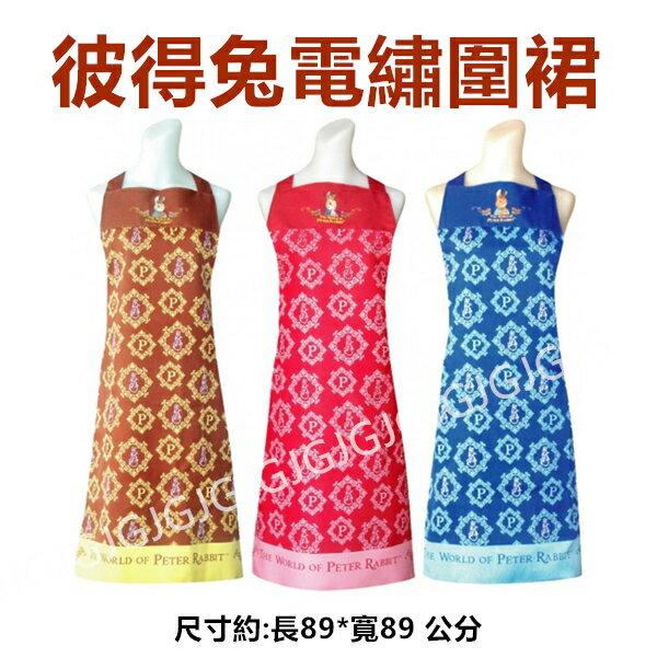 JG~台灣製彼得兔圍裙電繡線框防潑水圍裙,比得兔圍裙二口袋格子圍裙廚房圍裙咖啡廳圍裙餐飲圍裙活動制服