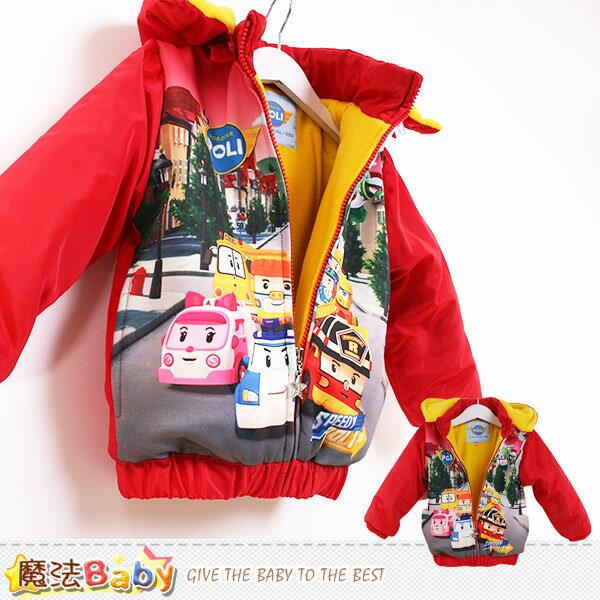 兒童外套 POLI授權正版絨裡鋪棉連帽厚外套 魔法Baby~k44898