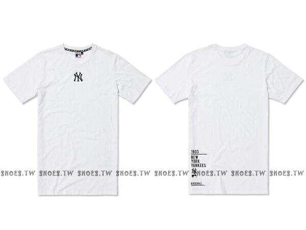 Shoestw【5830239-800】MLB美國大聯盟MAJESTIC短袖T恤棉質長版紐約洋基隊小LOGO白色