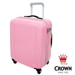 【CROWN 皇冠】日本設計 19吋 PC 拉桿 360度靜音輪 輕量行李箱 / 旅行 (粉紅)