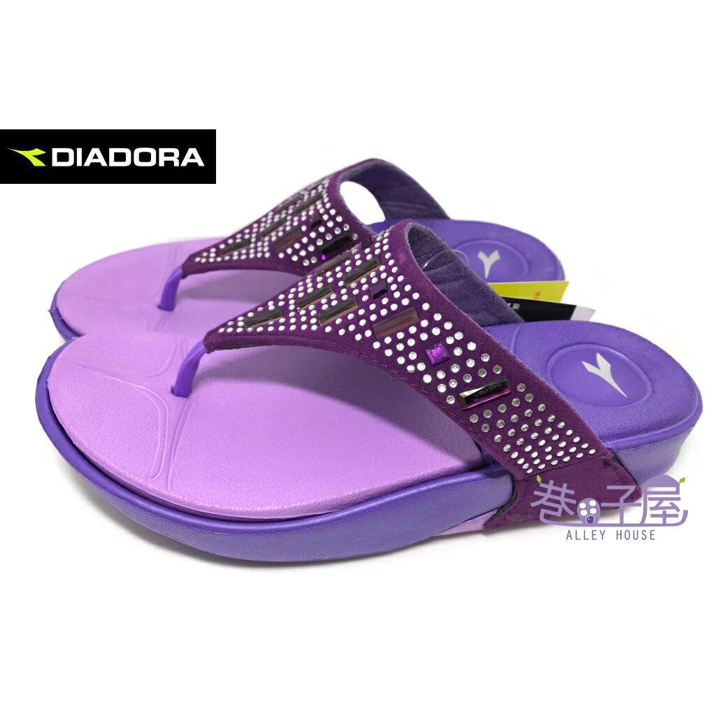 【巷子屋】義大利國寶鞋-DIADORA迪亞多納 女款亮鑽輕量休閒夾腳拖鞋 [3277] 紫 超值價$198