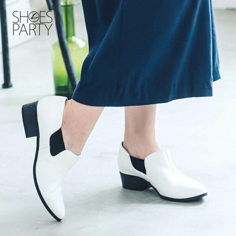 【B2-16209L】黑白系列尖頭側鬆緊鞋_Shoes Party 2