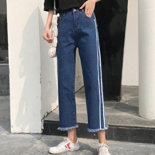 PS Mall 韓版寬鬆毛邊九分牛仔褲雙線長褲【T710】 1